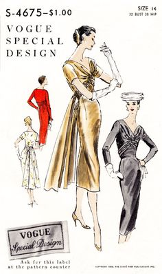 1950s 1960s Vogue S-4675 vintage cocktail dress sewing pattern evening formal bridal fitted wrap front draped sash bust 32 repro