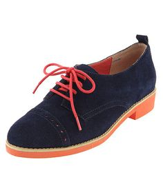 Take a look at this Navy & Orange Bora Oxford by Lebunny Bleu on #zulily today!