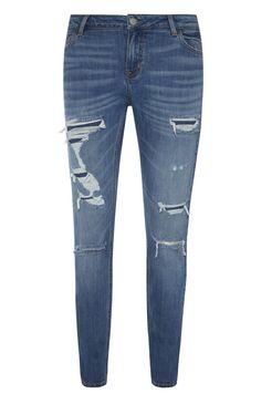 Primark - Blue Rip And Repair Skinny Jeans