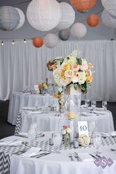 Grey & orange wedding - chevron wedding - Peaks Island Wedding - Inn at Peaks Island - #MaineWedding - by Samantha Warren Weddings