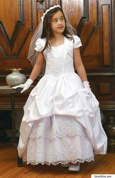 Angels Garment Big Girls White Satin Pick Up Communion Dress 16 Girls Communion Dresses, Girls Easter Dresses, Girls Formal Dresses, Gowns For Girls, Little Girl Dresses, Flower Girl Dresses, Flower Girls, Tulle Dress, Satin Dresses
