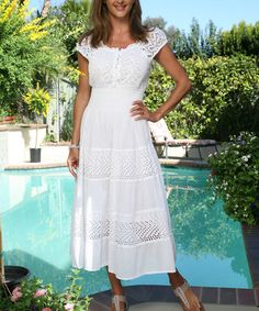 This White Eyelet Cap-Sleeve Dress by Ananda's Collection is perfect! #zulilyfinds