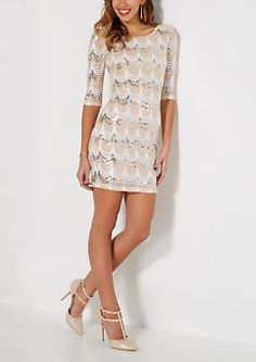 Pink Scalloped Sequined Bodycon Dress | rue21