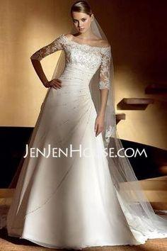 A-Line/Princess Off-the-Shoulder Chapel Train Chiffon Satin Wedding Dresses With Lace Beadwork (002004524) - JenJenHouse.com