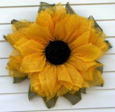 Sunflower Wreath-Deco Mesh Sunflower-Paper by HootOwlMeshCreations