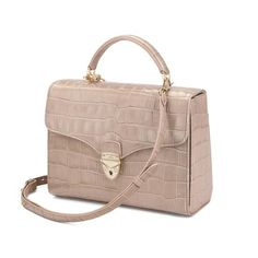 1954281b2b Mayfair Bag in Deep Shine Soft Taupe Croc with Stripe Strap from Aspinal of  London