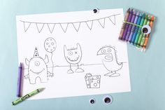 coloring page, party favor -- monster party