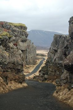 Iceland where 2 Tectonic Plates meet. Only place on land you can see.  That's not a road but lava oozing deep fm the molten earth below.