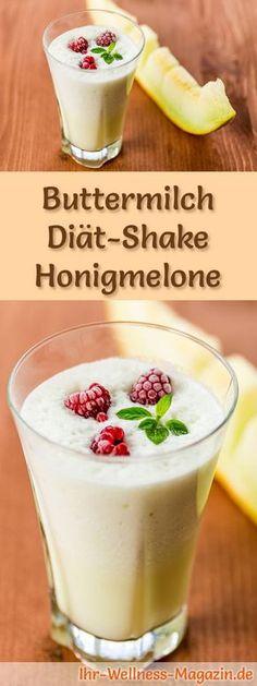 Buttermilch-Shake mit Honigmelone - ein Rezept mit viel Eiweiß und wenig Kalorien, perfekt zum Abnehmen, gesund und lecker ...