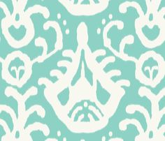 sea_cream_ikat fabric by domesticate on Spoonflower - custom fabric