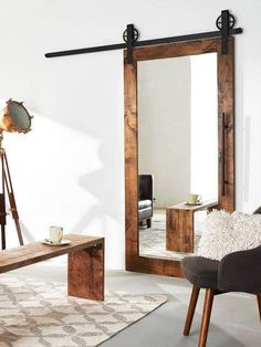 Create the perfect mirror sliding barn door for your style and vision. Contact our design team and get started on your own mirror barn door today. The Doors, Entry Doors, Wood Doors, Patio Doors, Mirror Door, Door Wall, Floor Mirror, Interior Barn Doors, Contemporary Decor