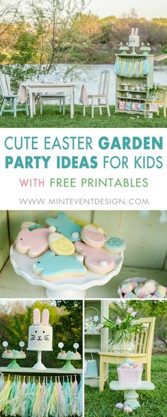 The cutest Easter garden party ideas for kids are here. Including a fun tablescape for kids and there's even free Easter Party Printables including drink wraps and cupcake toppers. Styling by Mint Event Design www.minteventdesign.com #easterparty #gardenparty #kidspartyideas #easterprintables