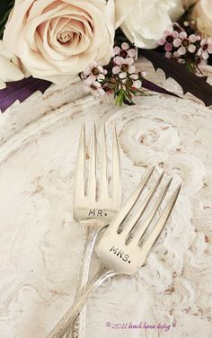 Mr. & Mrs. cake forks for weddings vintage silver plated flatware Rosebrook 1933