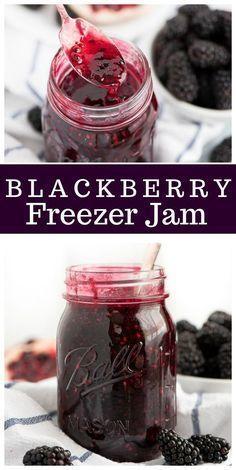 Blackberry Freezer Jam - Jams/Jellies/Canning - Homemade Jam Freezer Jam Recipes, Jelly Recipes, Canning Recipes, Drink Recipes, Easy Jam Recipes, Canning 101, Fruit Recipes, Freezer Meals, Blackberry Freezer Jam