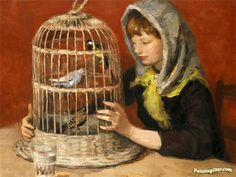 A Girl With A Birdcage Artwork by Marcel Dyf Hand-painted and Art Prints on canvas for sale,you can custom the size and frame