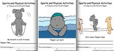 """Play Pepper's """"I Have Who Has"""" game to learn about 36 sports and physical activities using the complete sentences """"I like to play/do ....  Who likes to play/do ....?"""".  Read and fill in her three booklets on sports.  Interact with her three PowerPoints on sports."""