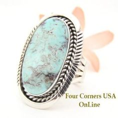 Dry Creek Turquoise Large Stone Ring Size 8 Eugene Belone Navajo Silver Jewelry NAR-1465 Four Corners USA OnLine