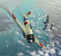 Pearl Harbor Attack, by Jerry Boucher (Mitsubishi A6M2 Zero vs Curtiss P-36A)