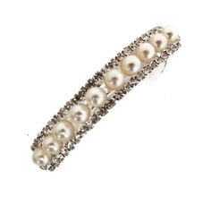 Lovely Small Ivory Pearl and Crystal Barrette Hair Clip Bridal Bridesmaid Prom