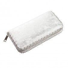 Leren portemonnee zilver met afgezet met ketting