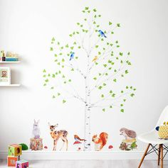 woodland nursery wall stickers, animals and tree set by chocovenyl | notonthehighstreet.com