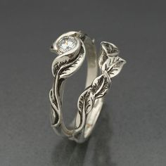WEDDING RING SET Delicate Leaf Engagement ring with by BandScapes, $325.00