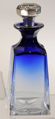 Faded Blue Glass Perfume With Sterling Cap Stopper - Tiffany Perfumes Vintage, Antique Perfume Bottles, Bottles And Jars, Glass Bottles, Vintage Bottles, Cobalt Glass, Cobalt Blue, Glass Dresser, Blue Perfume