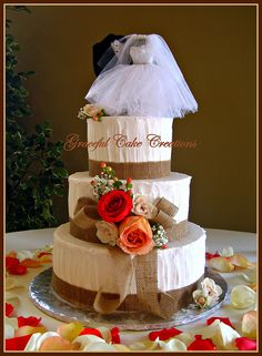 Rustic Wedding Cake with Burlap and Roses
