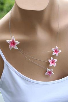 flower polymer clay necklace