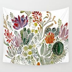 Succulents++Wall+Tapestry+by+Hannah+Margaret+Illustrations+-+$39.00