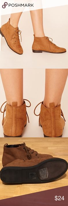 Listing Forever 21 Faux Suede Booties Forever 21 Brown Faux Suede Booties.  NWOT:  Only worn to try on when purchasing. Plaid Flannel lining inside boot on tongue and sides of Booties.                                                                                      No Lowball Offers, Please Forever 21 Shoes Ankle Boots & Booties