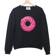 PINK DONUTS sweatshirt jumper hipster grunge retro paris fashion... ($32) ❤ liked on Polyvore