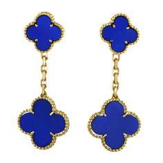Van Cleef & Arpels Alhambra Lapis lazuli gold clip—on earrings