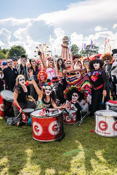 Bristol Samba Band at Shambala 2012 looking ghoulishly Central American  skeleton!