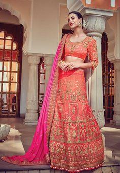 Orange jaipuri Rajwadi style Embroidered Lengha with contrast pink dupatta