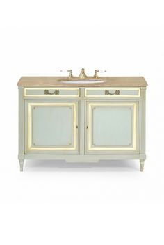 The Costin vanity unit is shown in Lamartine Grey with details in Dusty White and an Imperial marble top.