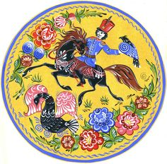 Folk Gorodets painting from Russia. Hunting with a falcon. #art #folk #painting #Russian