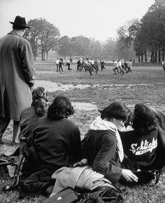 American students watching football. Plaine de jeux de Bagatelle Paris 75016 (1952) Gordon Parks for Life magazine.
