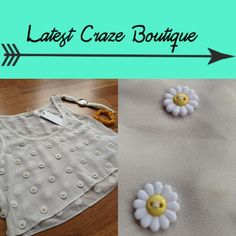 LF Daisy Crop Top Cream sheer crop top with plastic daisies stitched on front and back. This is such a cute too for spring and Summer. LF Tops Crop Tops