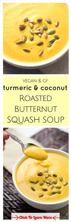 This smooth and creamy, vegan  gluten-free Turmeric  Coconut Roasted Butternut Squash Bisque is an antioxidant packed, anti-inflammatory one pot wonder the whole family will love! via Emily Kyle Nutrition #health #fitness #weightloss #healthyrecipes #weightlossrecipes