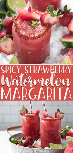 fruity, summery twist on a classic drink, this Spicy Strawberry Watermelon Margarita kicks up the heat and flavor a notch with strawberries and jalapeno-infused tequila! Jalapeno Recipes, Spicy Recipes, Cooking Recipes, Kitchen Recipes, Appetizer Recipes, Watermelon Lemonade, Strawberry Margarita, Pineapple Juice, Jalapeno Margarita