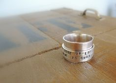 Spinner Ring - Fiddle Ring - Sterling Silver Ring - Personalized Spinner Ring - Custom Spinner Ring - Hand Stamped Ring - Personalized Ring
