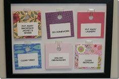 Chore chart boards...I love this idea! I think I will do this but create a reward system out of it by the girls turning in their cards and adding them up for the week for their reward or allowance...haven't got that far.