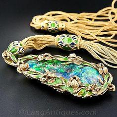 Marcus & Co. Art Nouveau Opal and Enamel  Pendant - Antique Jewelry University