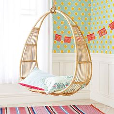 SERENA & LILY  Circular Hanging Rattan Chair