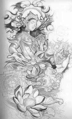 Goddess of mercy, asian art tatoo Tattoos, Buddha tattoos asian art tattoo - Tattoos And Body Art Tattoo Sketches, Tattoo Drawings, Body Art Tattoos, Sleeve Tattoos, Art Drawings, Hand Tattoos, Tattoo Crane, Arte Dark Souls, Buddha Tattoos