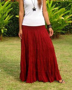 Long Maxi Skirt * Tiered Skirt * Hippie Skirt * Bohemian Skirt * Boho Skirt * Crinkle Skirt * Plus Size Clothing * SL - bordeaux Hippie Skirts, Bohemian Skirt, Boho Skirts, Boho Chic, Maxi Skirts For Women, Long Maxi Skirts, Cotton Maxi Skirts, Pleated Skirt, Chiffon Skirt