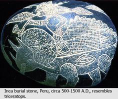 Ica stones supposedly from a pre-1500-A.D. Inca civilization.