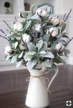 Farmhouse Decor~Cotton Arrangement~Table Centerpiece~Lamb's Ear~Lavender and Cotton in a White Pitcher - Kyoto Decoration
