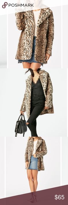Faux Leopard Fur Coat This is a brand new NWT unworn coat by JustFab. It's faux fur, super soft, luxurious, and elegant. Size XS but runs large. Could comfortably fit a S or M as it's purposefully oversized. JustFab Jackets & Coats